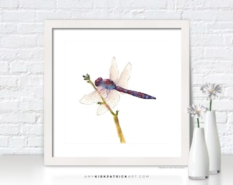 BURGUNDY DRAGONFLY Painting, Dragonfly Print, Dragonfly Greeting Cards, Dragonfly Watercolor Painting, Dragonfly Wall Decor, Dragonflies
