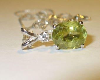 Sphene Titanite Pendant Necklace in Sterling - Genuine Natural Gemstone