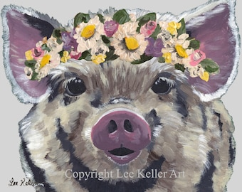 Pig art print, pig print,  cute pig art, pig with flowers print. Farmhouse pig art, pig with Flower Crown art, cute pig nursery, kitchen art
