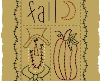 Primitive Machine Embroidery Design-Fall Sampler--Version 2--(4x4)-INSTANT DOWNLOAD