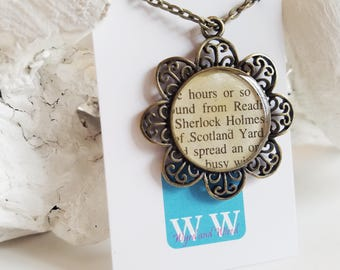 READY TO SHIP Sherlock Holmes Necklace - Recycled Mystery Book Jewelry - Salvaged Book Necklace with Filigree Flower