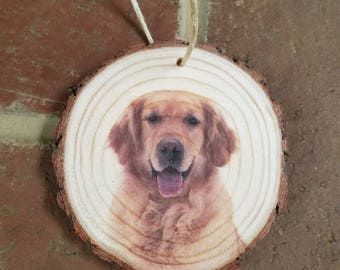 Christmas tree ornaments wood slice Golden Retriever dog real puppy ornament real bark holiday decor burlap string cute   personalized name