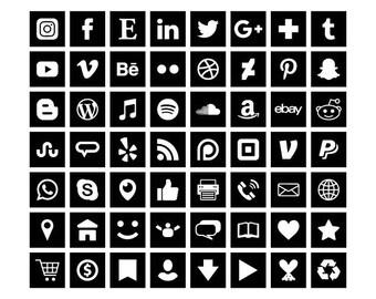 Carré noir Social Media Icons Set | Transparent Avatar plat couleur boutons Blog site Web | Icônes numériques | Utilisation personnelle ou commerciale