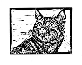 Original, Unframed, Hand Pulled, Linocut Print - Pops the Cat - A5 print on A4 Paper - lino ink paper tabby cat