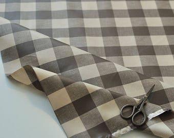Laminated Brown Plaids Cotton Fabric, 3 cm Plaid Laminate 100811