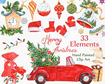 "Watercolor Christmas clipart: ""CHRISTMAS CLIP ART"" Holiday clipart Christmas Bells Ornaments Snowflake Christmas gifts Santa Winter clipart"