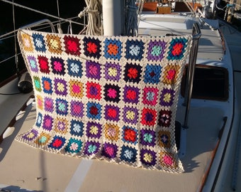 Hand Crocheted Granny Square Blanket - Multi-Colored Throw Afghan