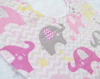 Baby  Girl Bib - Baby Elephants and Chevron - Boutique Bib in Designer Cotton Fabric