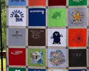 TShirt Quilt, 20 T-Shirts, Custom T-Shirt Quilt, Deposit,  20 Shirts Block TShirt Quilt, Tee Shirt Quilt