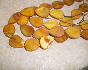 Amber Mother Of Pearl Shell Tear Drops Full Strand
