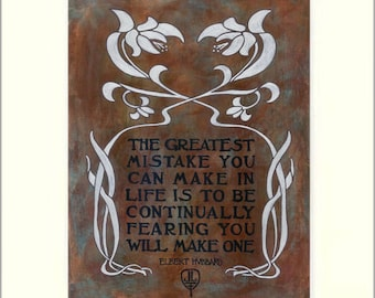 Elbert Hubbard - Mistakes: Matted Giclée Art Print by The Bungalow Craft by Julie Leidel (Arts & Crafts Movement)