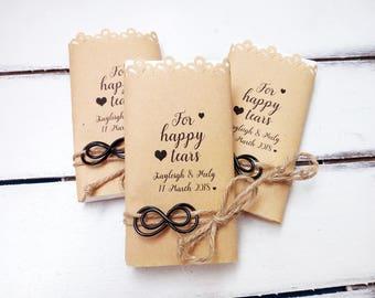 Infinity happy tears tissue pack wedding favors, Tears of joy packs, Happy tears handkerchief, Happy tears hankerchief, Wedding hankies