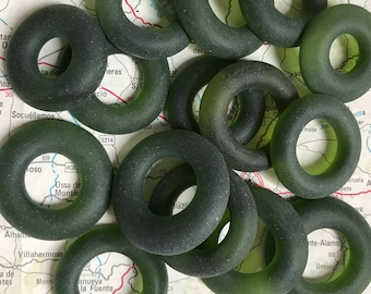 15 Glass Bottle Beads - Upcycled Recycled Repurposed Olive Green Beach Sea Glass Wine Beads