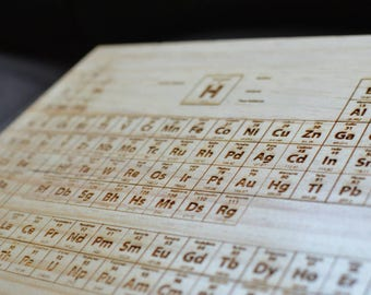 Periodic table with laser engraving in wood or acrylic