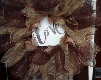 Burlap Ruffle Deco Mesh Wreath-Deco Mesh Wreath-Love Wreath-Valentine's Wreath-Wedding Wreath-Front Door Wreath-Wreath For Door-Rustic