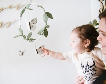 Luna Moth Mobile in Green, Luxe Metallic Silver and White - Nursery Decor for Baby