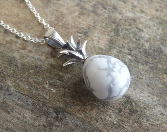 """Natural White Howlite Sterling Silver Pineapple Pendant Necklace - 18"""" Sterling Silver Chain - Natural Stone pendant - Boho Chic necklace"""