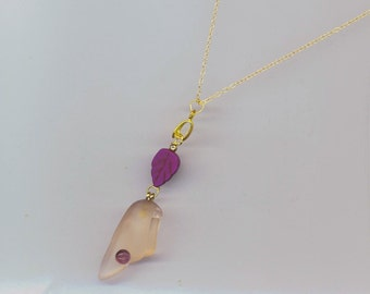Sea Glass& Leaf Necklace, Sea Shore Pendant, Gold filled Chain, Everyday Beach Jewel, Purple Leaf- Ocean Necklace  by enchantedbeads on Etsy