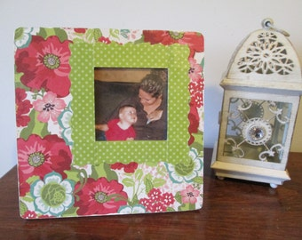 3x3 - Floral Themed - Hand Decorated Picture Frame