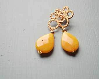 Yellow earrings with hard stone, lobe pendants with agate drop, summer jewellery, birthday or graduation gift idea