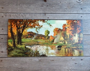 Autumn Landscape by Graule, textured Litho print marked Winde Fine Prints, Country Autumn, Unframed 12 x 24 print