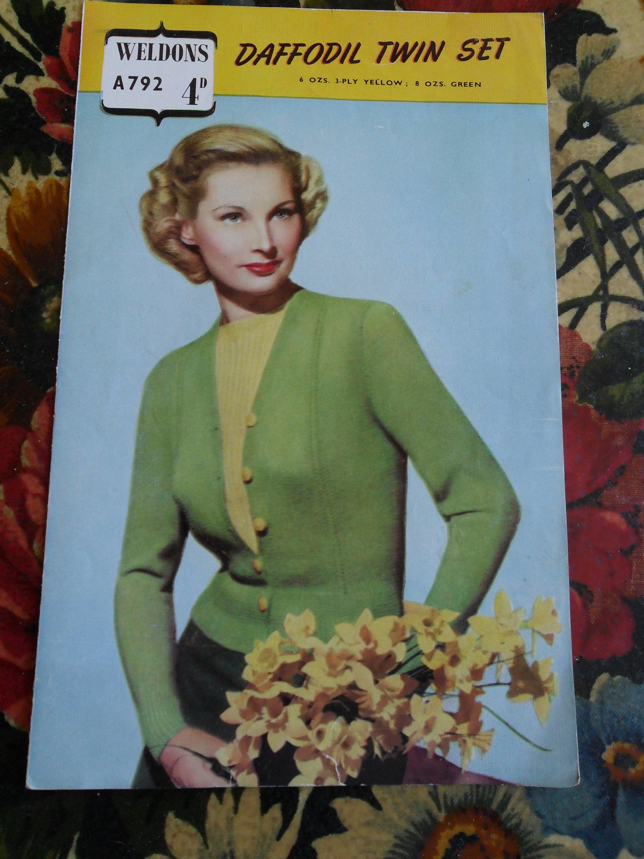 df3ea2d8d Vintage Knitting Pattern 1940s Lady s Twin Set original