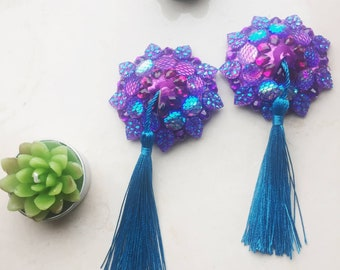 Mermaid - Handmade burlesque pasties, rhinestone crystal with tassels, purple/blue/teal