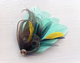 SIDNEY in Mint Blue, Iris Grey, Dark Aqua, and Navy Peacock Feather Fascinator with Crystal, Feather Hair Clip, Bridal Hair Piece