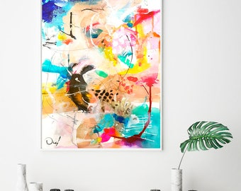 Colorful Abstract Giclee Print,  Fine Art Print, Abstract art, Giclee art print, acrylic abstract painting, Office wall art, Office decor