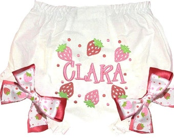Personalized Red & Pink Strawberries Design Baby Girl  Bloomers, Diaper Cover