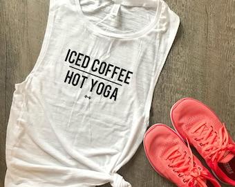 Iced Coffee Hot Yoga Workout Tank, Funny Yoga Tank, Yoga, Coffee, Womens Workout Tank, Muscle Tank, Funny Yoga Tank, Funny Workout Tank