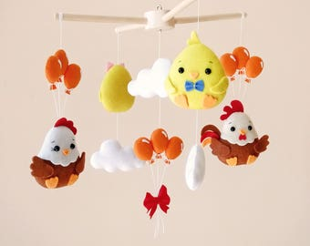 Baby Mobile Chicken Decor Balloons Baby Shower Gift Baby Nursery Decor Newborn Gift Baby Crib Mobile Rooster Cot Mobile Chick New Baby Gift