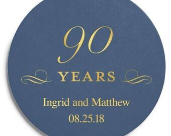 Set of 100 Round Wedding Coasters - Ninetieth Anniversary - Custom Coasters - Weddings - Wedding - Wedding Reception - Wedding Coasters