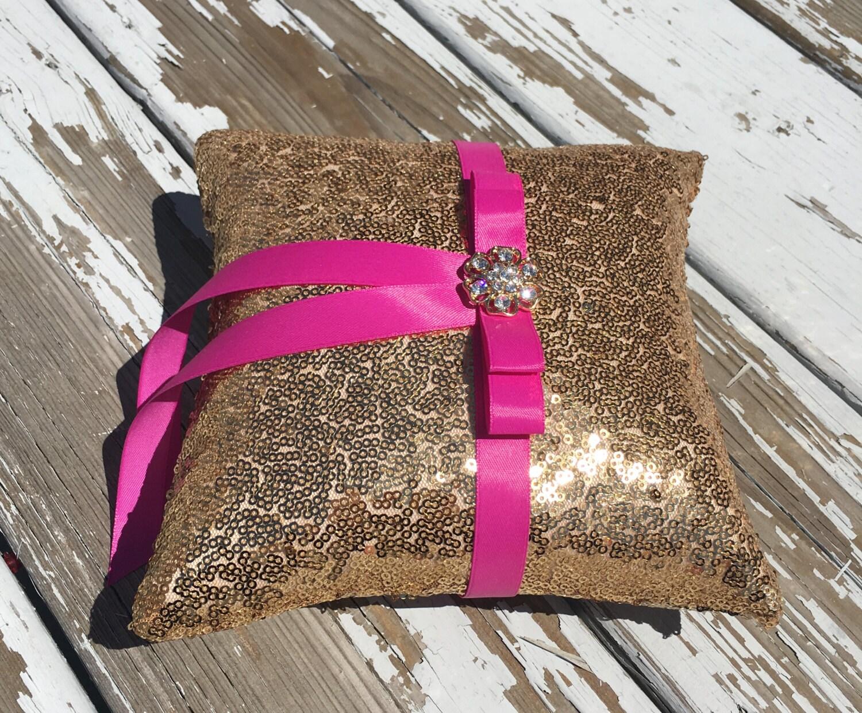 gold sequin ring bearer pillow/ring bearer pillow/gold