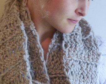 Long Crochet Wool Scarf, Crochet Wool Cowl, Heathered Wool Crochet Scarf, Heathered Wool Crochet Cowl, Christmas Gift, Winter Gift