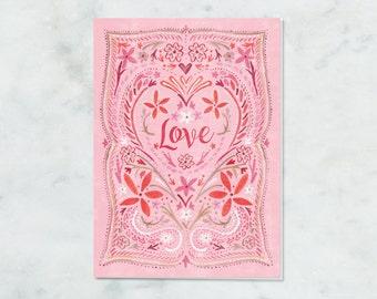 Love Card, Valentine, Anniversary, Valentines Day Card, Pink