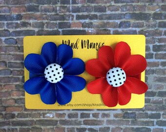 Set of two, two inch flower bows, blue flower bow, and red flower bow, baby bow, girls bow, toddler bow, bow set, deal, flower accessories