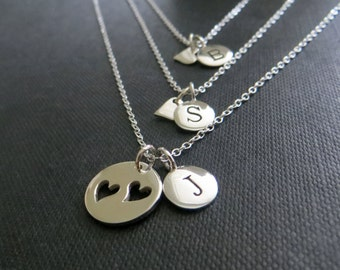 Personalized gift for mom, mother 2 daughters initial necklace, mother daughter jewelry, set of 3, mothers day gift for wife and daughters