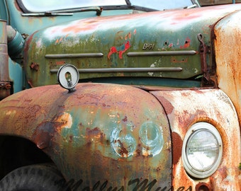 Old Mack Truck Photo, Rustic Man Decor, Rust Brown Turquoise Green, Garage Wall Art, Americana Abstract Print men