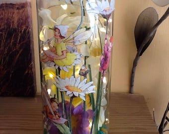 Fairy Lamp, Fairy Night Light, Mood Light, Fairy Bottle Lamp, Fairy Table light, Birthday, Christmas, Gift for Her.Fairy and Flowers