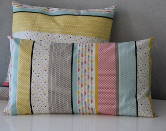 Cushion - 50 x 30 cm - printed fabrics way patchwork - multicolors pastel tones