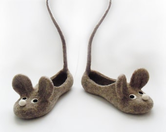 Felted adult size slippers MICE