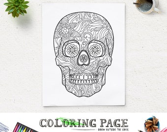 Halloween Party Coloring Page Printable Floral Skull Party Coloring Pages Instant Download Digital Art Holiday Art Print Adult Coloring Zen