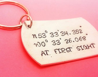 Hand Stamped Coordinates Keyring Latitude Longitude  Personalized  Valentines Places Map GPS Locations Travel Holidays