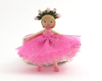 Little ballerina doll, miniature bendy doll, pink small doll, poseable doll, miniature ballet dancer, little dancer, pink ballet dancer