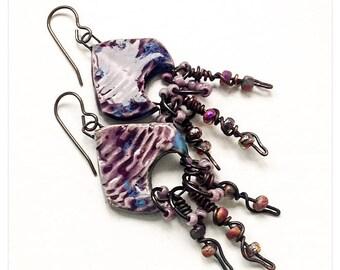 Purple ceramic dangles - scorched Earth earrings - boho earrings - artisan earrings