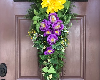 Spring Door Decor,  Front Door Swag, Spring Teardrop Swag, Wreath Swag, Floral Decor