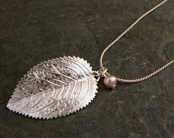 Silver Pendant, Silver Leaf Necklace, Pearl Necklace, Autumn Pendant,  June Birthstone, Woodland Necklace, Organic Necklace, Autumn Jewelry