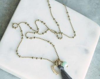 California Necklace, California Pendant, State Necklace, Long Tassel Necklace, California Charm, Cali Necklace