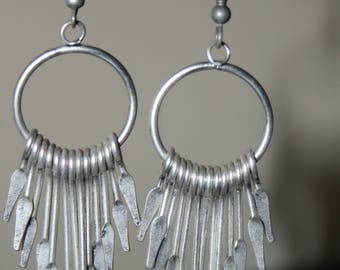 Hammered German Silver Paddle earrings